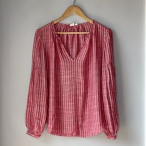 Gap Long Sleeve Blouse Red and White